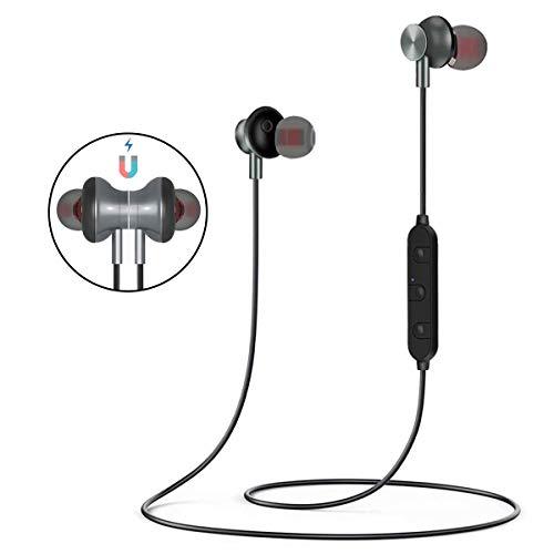 AOMEES Bluetooth Kopfhörer Magnetisches, BT-08 Bluetooth Earphone, HiFi Stereomikrofon, schalldichte, wasserdichte Kopfhörer für iPhone Samsung Android Turnhalle
