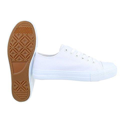 Sportschuhe Damenschuhe Geschlossen Sneakers Schnürsenkel Ital-Design Freizeitschuhe Weiß FC-B15