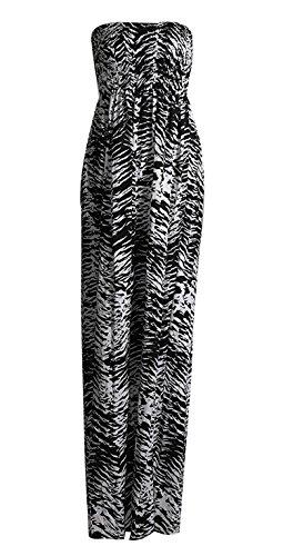 Zebra-print-bandeau (Fast Fashion Damen Totenkopfprint Sheering Elastischer Viskose Jersey Maxi Kleid (36/38, Zebra Print))