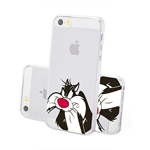 finoo | IPHONE 6 / 6S Lizensierte Hardcase Handy-Hülle | Transparente Hart-Back Cover Schale mit Looney Tunes Motiv | Tasche Case mit Ultra Slim Rundum-schutz | Tweety freut sich Sylvester überlegt