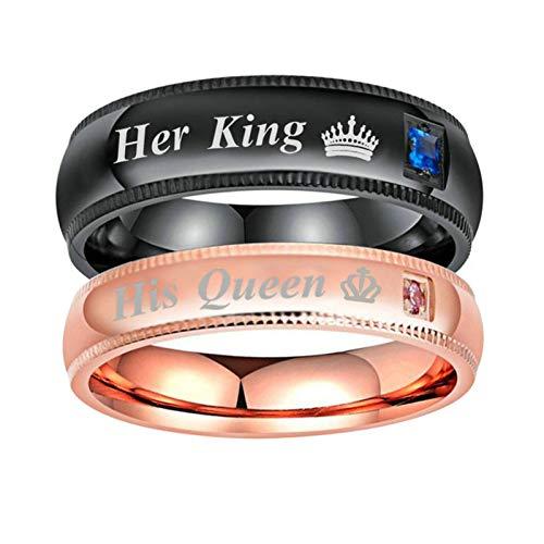 Amody 4 / 6MM Edelstahl Seine Königin & Ihr König CZ Hochzeit Paar Ring Band Valentine's Day Geschenk FrauenSize 52 (16.6)