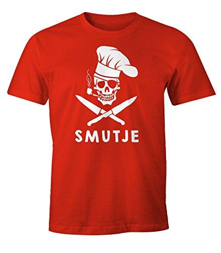 Rotes Shirt Piraten (Herren T-Shirt Koch Smutje Pirat Fun-Shirt Moonworks® rot)