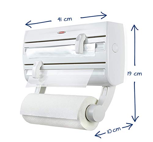 Leifheit Comfortline Parat F2 Kitchen Foil and Cling Film Wall Mounted Roll Holder Plastic White L 10 cm x W 41 cm x H 19 cm