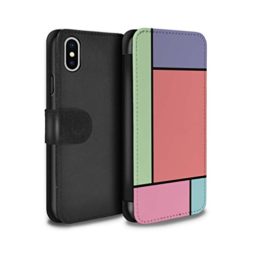 Stuff4 Coque/Etui/Housse Cuir PU Case/Cover pour Apple iPhone X/10 / 3 Carreaux/Violet Design / Carreaux Pastel Collection 5 Carreaux/Rouge