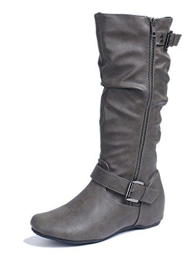 AgeeMi Shoes Damen Langschaft Stiefel Reißverschluss Runde Flache Stiefel,EuX46 Grau 37