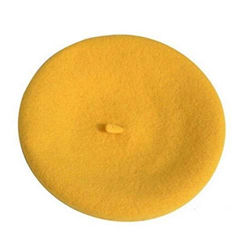 Señoras Primavera Invierno Lana Vintage Boina Amarillo