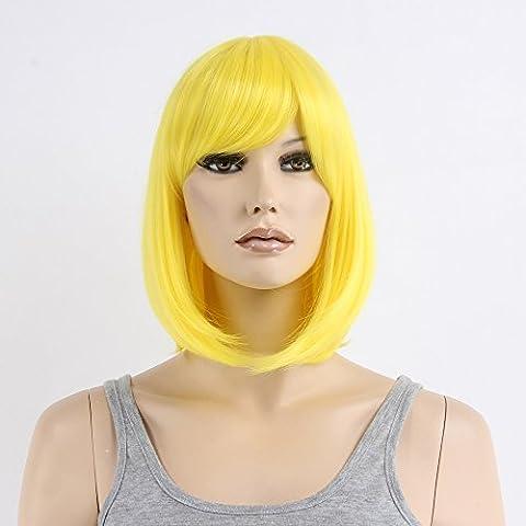 stfantasy kurz Perücken für Frauen Kunsthaar Gerade Hitzebeständig 35,6cm 137g Bob Wig peluca frei Hair Net + Clips, (Old English Kostüm)