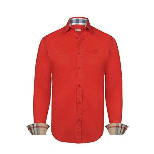 BURBERRY Camicia Uomo Manica Lunga Colore Rosso - Red (M, Rosso)