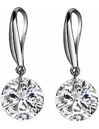 LDUDU® Pendientes de mujer de plata de ley con Cristal Swaroski/ Circonita para mujer niña regalo de Cumpleaños Navidad San Valentin color blanco