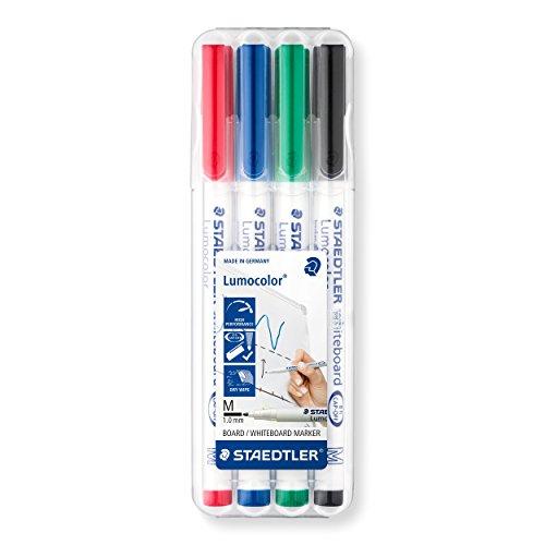 Staedtler Lumocolor Whiteboard-Marker, Rundspitze ca. 1 mm Linienbreite, Set mit 4 brillanten...