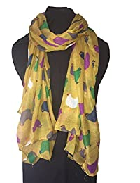 Pamper Yourself Now Mustard With Different coloured Chickens/Hen Design Ladies Long Soft Scarf
