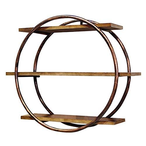 Schweberegale Runde Wandregal Hängende Regale Metall Eisen und Holz für Bar Wohnzimmer als Bücherregal Lagerregal | Cube Unit Frame als Wanddekoration Design Vintage (Bronze)