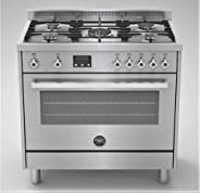 Bertazzoni 90x60 CM Cooker, 5 Gas Burners, Multi function Electric Oven, Stainless Steel, PRO905MFELXE, Made i