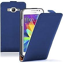 Membrane - Ultra Slim Azul Funda Carcasa para Samsung Galaxy Core Prime (SM-G360F) - Flip Case Cover + 2 Protector de Pantalla