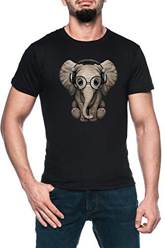 Linda Bebé Elefante DJ Vistiendo Auriculares Y Lentes Hombre Negro Camiseta Manga Corta Men's Black T-Shirt