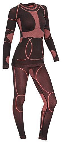 icefeld®: Sport-/ Ski-Thermo-Unterwäsche-Set für Damen Seamless (nahtfrei) in schwarz/Koralle L