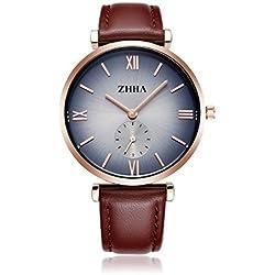ZHHA Men's S001 Classic Two-hands Quartz Wrist Waterproof Watch Brown Leather Black Dial