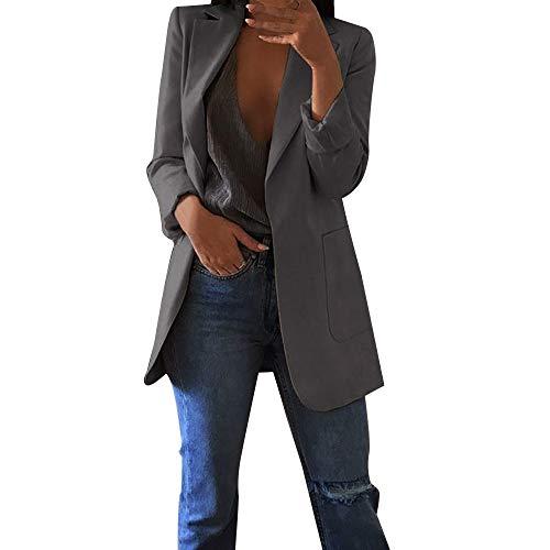 Damen Elegante Blazer MYMYG Sakko Einfarbig Slim Fit Vorne Offnung Tasche Tailliert Geschäft Büro Kurzjacke Jacke Mantel Herbst Winter Langarm Cardigan(Grau,EU:34/CN-S)
