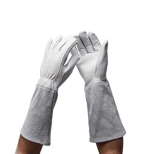 Ziegenleder Rosen Gartenhandschuhe, Dornschutz, pannensicher, lange Ärmel, Armschützer, Gartenhandschuhe für Männer und Frauen, M, grau, 2