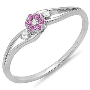 Damen Ring 10 Karat Weißgold Diamant & Rosa Saphir Cluster Ring