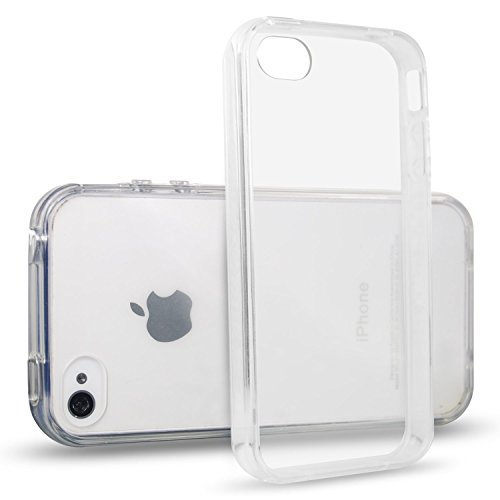 NEW'C Coque pour iPhone 4, 4S, [ Ultra Transparente Silicone en Gel TPU Souple ] Coque de Protection avec Absorption de Choc et Anti-Scratch