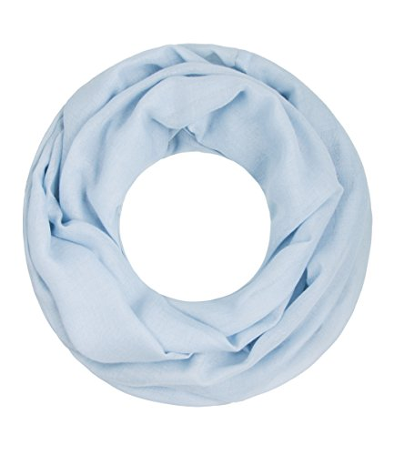 Majea Loop Cary Basic Schal Tuch Damen-schal Schlauchschal Rundschal Halstücher uni unifarben Loopschal einfarbig (hellblau 1)