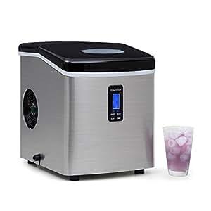 Klarstein Mr. Black-Frost • machine à glace • glaçons • 15 kg/24 h • 150 w • 3 tailles • 6-15 mn • réservoir 3,3 l • minuterie • heure • écran LCD • fenêtre de contrôle • discret • inox • noir