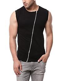 Gritstones Black Sleeveless Zipper Jacket GSCUTSL1149BLK