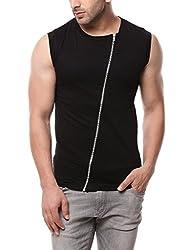 Gritstones Black Sleeveless Zipper Jacket GSCUTSL1149BLK_XL