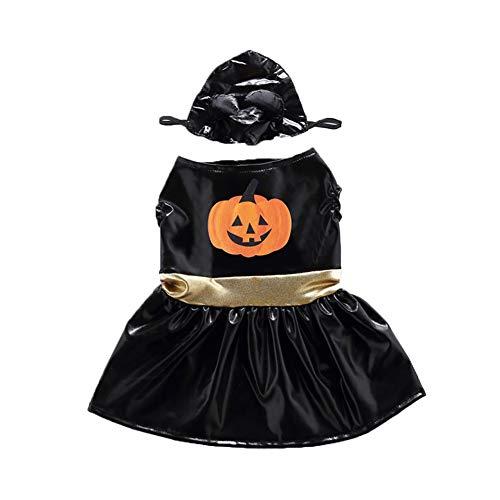 (JingYuan S Halloween Pet Kostüm Spooky Abendkleid für Hunde Katzen Ankleiden Party-Halloween Festival Aktivität Bekleidung Horn Kürbis)