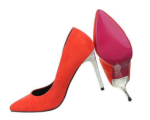 Damen Pumps Schuhe Elegant High Heels Rot