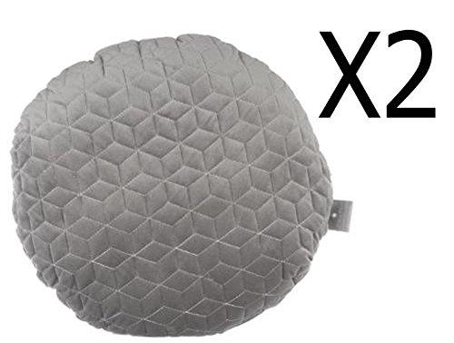 Lot de 2 coussins ronds en polyester coloris gris foncé et gris clair - Diam : 40 cm - PEGANE -
