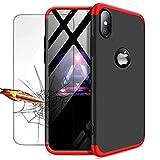 iPhone XS hülle, DYGG Schutzhülle Ultra dünn Soft PC Hartgummi handyhülle Case Cover + Displayschutzfolie - Schwarz und Rot
