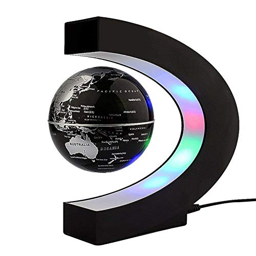 HFOUR Levitating Globe-C Shape Magnetic Levitation Rotation Weltkarte mit LED-Leuchten, Home Office Desk Dekoration,Black (Desk Weltkarte)
