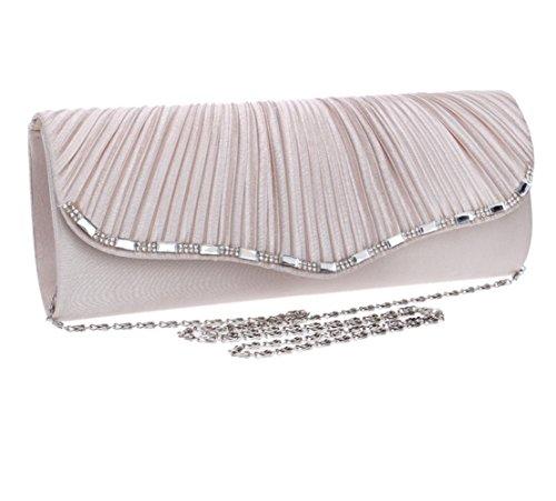 Frauen Handtasche Abend Handtasche Gefaltet Polyester Umhängetasche Für Braut Hochzeit Prom Clubs Damen Geschenk,Pink-26*10.5*5cm
