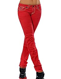 aedceb51d632 H922 Damen Bootcut Jeans Hose Damenjeans Hüftjeans Gerades Bein Dicke Naht  Nähte