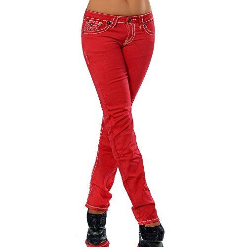 H922 Damen Bootcut Jeans Hose Damenjeans Hüftjeans Gerades Bein Dicke Naht Nähte, Farben:Rot;Größen:36 (S)