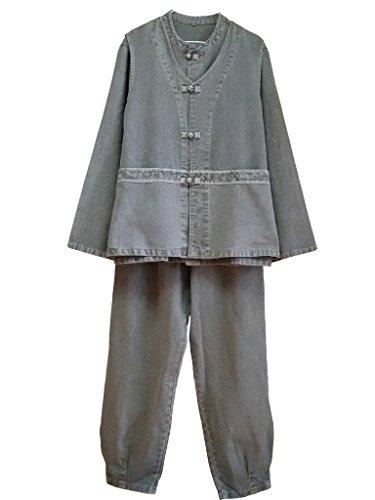 Altair Herren Frauen 100% Baumwolle Jacke oder Weste oder Hose Buddhistisches Zen Meditation Kleidung, Herren damen unisex, gray jacket