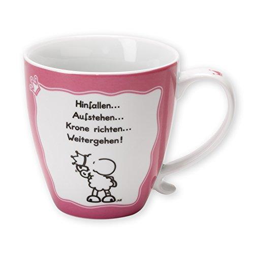 """Sheepworld 43460 Tasse """"Hinfallen … Aufstehen … Krone richten … Weitergehen!"""", Porzellan, 45 cl"""