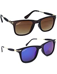 Elegante' Combo Of UV Protected Mirrored Blue And Brown Square Sunglasses For Men