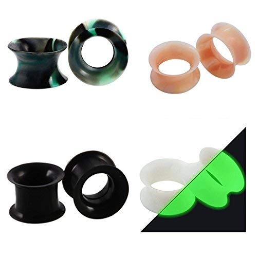 Huacan 8 Piezas Dilataciones Orejas de Silicona Pung-- 4 Piezas Ligero+ 2 Piezas Luminoso y 2 Borde Grueso Expansor de Túnel Hombre Mujer 8mm