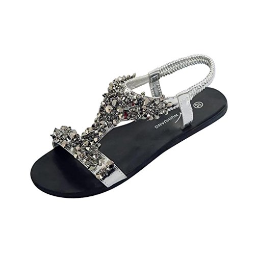 Transer® Damen Sandalen Flach Schwarz Silber Kunstleder+Kunststoff Sommer Mode Bördeln Kreuzgürtel Elastischer Fesselriemen Sandalen Silber