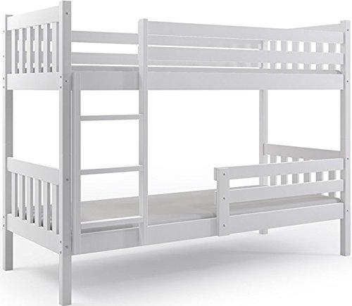 Letto a castello carino 200x90, letto per bambini e ragazzi in legno di pino massello, materassi di gommapiuma in omaggio (bianco)