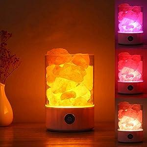 Mondeer Himalaya Kristall Steinsalz Lampe Stufenlos Dimmen USB Ionen Luftreinigung Bunte Umwandlung Licht für Schreibtisch Dekoration Schlafzimmer Tischlampe Schlafen Led Nachtlicht(Weiß)