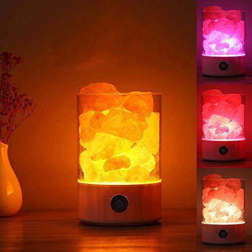 Himalaya Kristall Steinsalz Lampe Stufenlos Dimmen USB Ionen Luftreinigung Bunte Umwandlung Licht für Schreibtisch Dekoration Schlafzimmer Tischlampe Schlafen Led Nachtlicht(Weiß) (Weißen Schreibtisch Für Schlafzimmer)