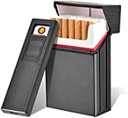 EzzySo Pocket Cigar Cigarette Case Box with Flameless Electronic Lighter Windproof Coil Lighters 20 pcs Cigare