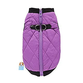 Awhao Pet Dogs Winter Vest Coat Casual Pet Jacket Apparel Warm Soft Light Waterproof Padded Puffer Winter Clothes For Small to Large Dog Purple XL