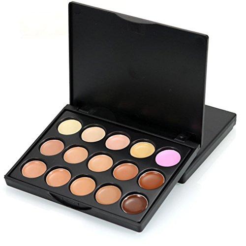Auf Schwarze Flecken Gesicht (Xshuai 15 Farben Gesicht Concealer Camouflage Creme Contour Palette kaschiert Hautunebenheiten, dunkle Flecken Stellen Sie Gesicht auf, für die Augen und einen makellosen Teint neu (C))