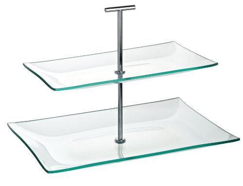 "Utopia Plate Stands, R90056-000000-B01001, Aura 2 Tiered Rectangular Glass Plate 11.75 x 8"", 10.25 x 5.75"" (30 x 20.5cm, 16 x 14cm) (Box of 1)"
