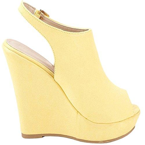 EKS Damen Slingbacks High Heels Peep Toe Sandalen Wedge Sandals Schuhe  Keilsandaletten EU 3546 Gelb